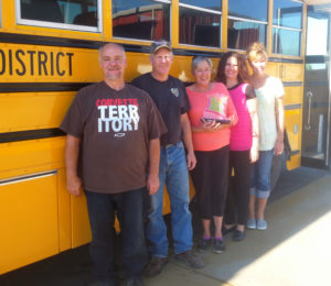Connie Lamb of Wales said she couldn't have won the 2016 Professional School Bus Driver award without the help of her team of supervisors, mechanics and secretaries. (L-R): Chad Johnson, Dallon Sagers, Connie Lamb, Carol Church and Lisa Mower.