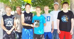 Venturing Crew winners of the 22nd annual Sanpete Challenge were from Gunnison 2nd Ward Crew 564. (L-R): Clark Bown (leader), Wyatt Young, McKay Halliday, Brandon Tucker, Bill Tucker (leader) and (last on right) Gabriel Jensen. Not pictured: Craig Jensen, Jacob Carlisle and Chad Ellett.