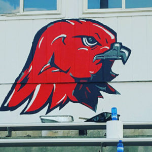 North Sanpete High alumni and artist Lesa Thomas volunteered to paint the fine details in the Hawk stadium. - Photo courtesy Cami Hathaway