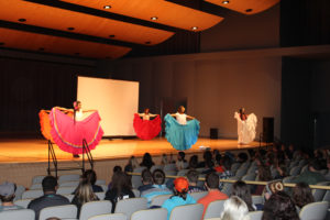 Snow College Latino ladies danced the folklórico to the beat of authentic Mexican music in traditional Jalisco, Mexico dress to help celebrate Latino Heritage Month.