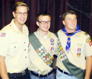 Dayton Talbot, son of Layne and Rosella Talbot, Spencer Applegarth, son of Paul and Kathryn Applegarth, and Trent Seely, son of Ted and Tina Seely, all of the Mt. Pleasant 4th ward, earned their Eagle Scout awards just prior to their mission calls to Trinidad, Tobaggo, Sierra Leonne, and California.