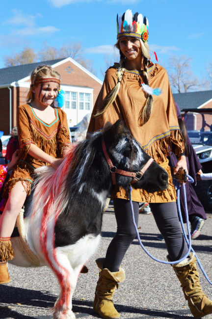A possible Pocahontas astride a pony in the Moroni Elementary Halloween parade on Monday. - Daniela Vazquez / Messenger photo