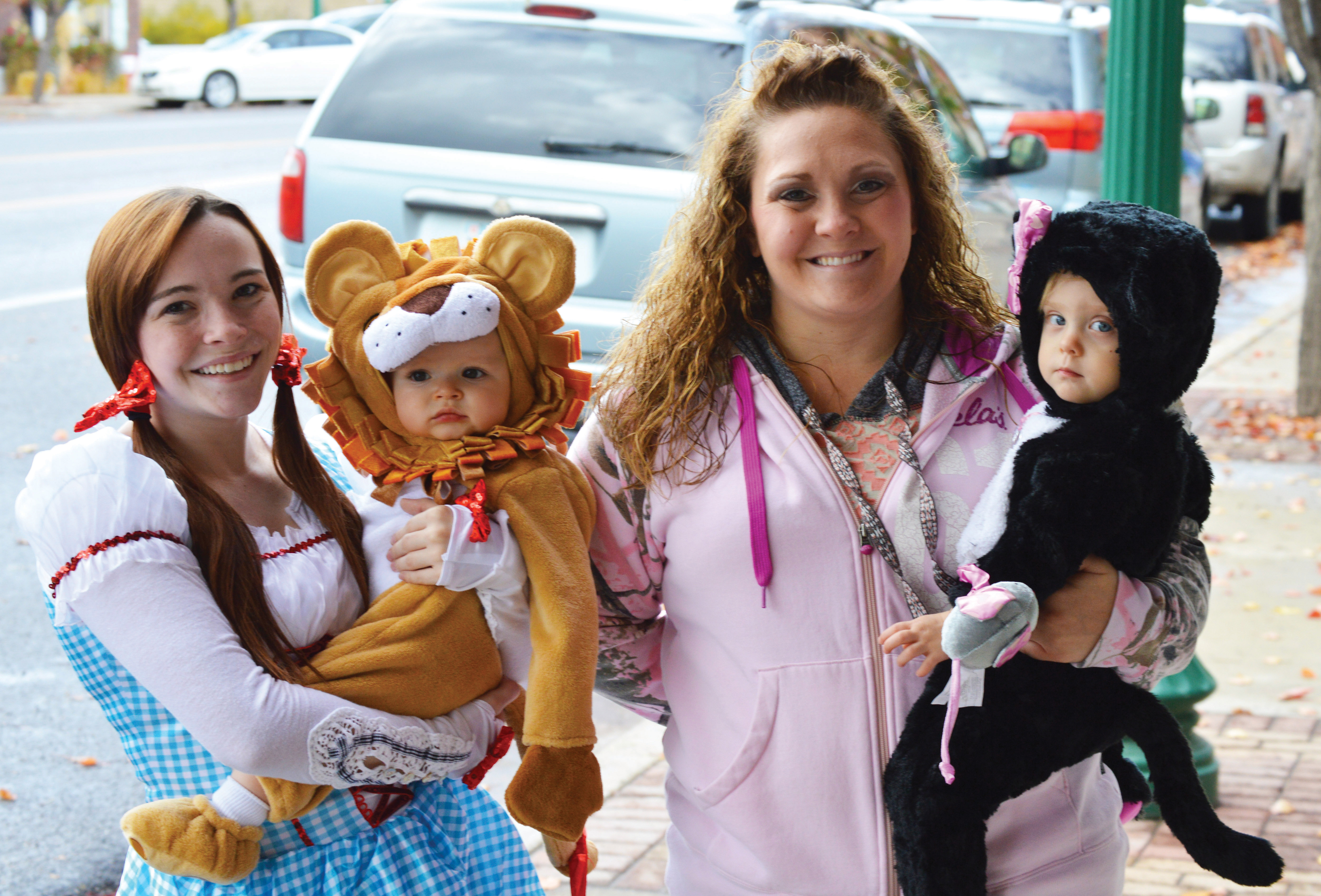 The Mt. Pleasant Elementary school parade had some costumed attendees. Pictured from left to right are Heather and Presley Seely, and Whitney and Gracie Colby. - Robert Stevens ? Messenger photo