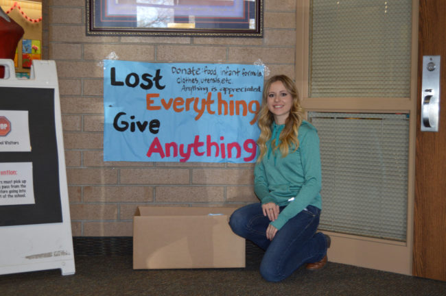 Hannah Harmston, Manti High Foreign Language Sterling Scholar nominee, is setting up donation boxes throughout Sanpete to collect items for two Ephraim families in need. - Daniela Vazquez / Messenger photo