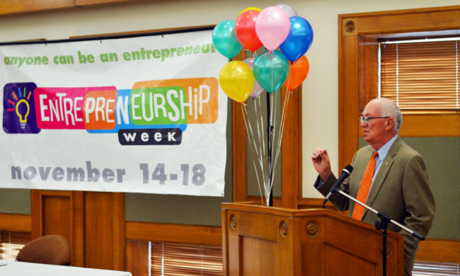 "Snow College President Gary Carlston told students and faculty to ""think differently"" and embrace entrepreneurship opportunities at the opening of the school's Entrepreneurship Week."