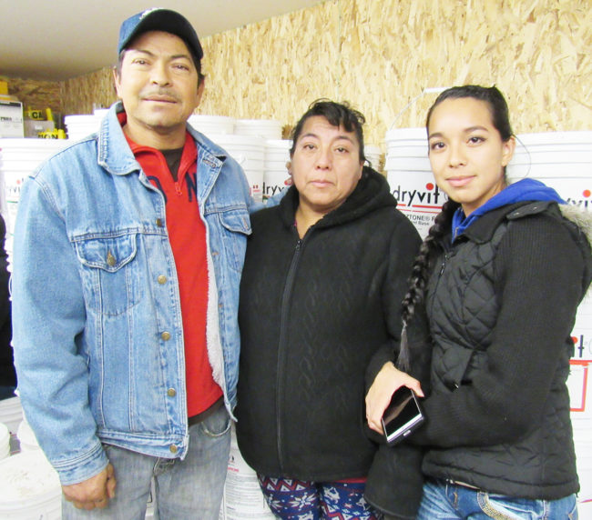 Raul (left) and Irma Almanza have lived at DJ Trailer Court for 17 years. Raul is on dialysis. Their daughter, Brenda (right), who completed three semesters at Snow College, has a new baby and no longer lives with her parents, but was at a meeting Saturday night to support them.