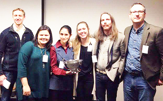 The Snow College Ethics Bowl team brought home the winning trophy and will prepare to compete at nationals in February. From left to right are Dr. Matthew Gowans, Shawnee Platero, Elysa Garcia, Calli Cahill, Adam Hall and Dr. Gregory Wright holding their trophy after winning the 2016 Ethics Bowl.