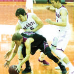Tanner Rasmussen (No. 15) forces a South Sevier turnover that Mac Stevens (right) turned into an easy two-point layup during Manti's 69-63 win over the Rams. - Bob Bahlmann / Messenger photo