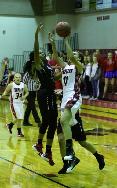 Jamie Bawden takes the ball to the hoop in Manti's opening game of the 2016-2017 season. Bawden led the Lady Templars with 11 points. - Bob Bahlmann / Messenger photo
