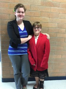 A special red jacket adorns Madison Walker. The jacket is an award that the Family Career and Community Leaders of America say demonstrates true leadership. Madison is pictured with Vivian Morris, chapter president.