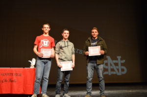Three of North Sanpete High School's students received leadership awards at the Semester Awards Ceremony held on Thursday, Jan. 19. From left to right is Orange Peel, Mason Bailey and Chase Bailey, all freshman. - Daniela Vazquez / Messenger photo