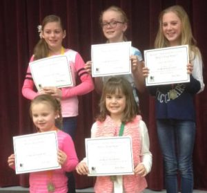 Five Moroni Elementary girls won the Reflections contest and will now compete in a State Reflections Contest later this month. Winners in the back row are Ava Lamb, visual arts; Claire Hilton, film; Lakely Brotherson, dance. Bottom row winners are Kaitlyn Taylor, dance; and Savannah Christensen, literature.