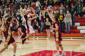 Senior Angela Clayton, back from injury for the first time since December, uses her offhand to drive to the basket against Juab last Tuesday, Jan. 17. The Lady Hawks fell to the Lady Wasps, 41-28. - Kyler Daybell / Messenger photo