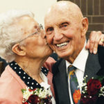 Ardith Peterson kisses Wayne, her husband of more than 60 years. The couple was recognized on Friday by the Ephraim LDS Institute with the 40th annual Sweethearts Award.