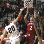 Mac Stevens (No. 2) takes it up strong in traffic. Stevens had 11 points in Manti's season-ending loss to Waterford. - Michael Bahlmann / Messenger photo
