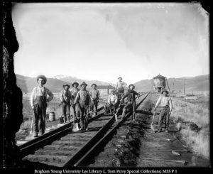 Taken in Indianola around the turn of the 20th century by traveling Utah photographer George Edward Anderson, this photo is causing some controversy in Wild West historical circles after modern forensic techniques confirmed two men in the photo to be Butch Cassidy (Robert LeRoy Parker, fifth from L.) and the Sundance Kid (Harry Longabaugh, sitting on cart).