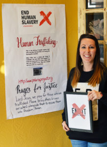 As part of her effort to fight human slavery and other injustices, Ashley Thompson of Ephraim has held awareness events at the Solid Rock Cafe for the past two years. During February, she helped put posters throughout the cafe and organized fundraisers for the End It Movement, a national organization dedicated to wiping out human slavery and associated injustices.