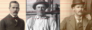 "The red lines you see intersecting these three portraits are part of a professional forensic computerized analysis method performed to compare the two outside photos (confirmed photos of outlaw Harry Longabaugh, aka ""Sundance Kid"") with the middle photo (theorized photo of Longabaugh). This technique is one among several that led forensic photography specialist Melissa Cooper to conclude the railroad photo does contain the outlaw. Cooper used the same methods to also confirm Butch Cassidy's presence in the railroad photo."
