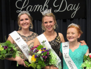 The new Miss Lamb Day Royalty, crowned on Saturday, March 18, 2017 at Fountain Green Elementary School are, from left to right: 1st Attendant, Olivia Hanson; Miss Lamb Day, Melanie Beck; 2nd Attendant, Denisha Ivory.