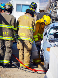 During the regional fire school held last weekend by the Sanpete County Fire District and the Utah Fire and Safety Academy, Sanpete firefighters learned techniques like extrication, the emergency automobile removal technique shown in this photo.