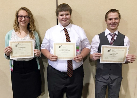 Abigail Clawson, Colby Orton and Coldir Cox of North Sanpete High School placed in the top 10 at the Future Business Leaders of America (FBLA)  state competition.