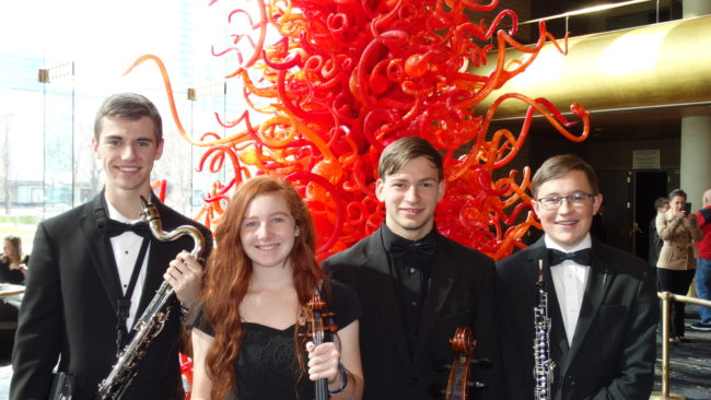 Pictured from left are Nate Thomas, Anna Johnson, Tyler Boylan and Keston Thompson. The Manti High students have given up most of their Saturdays since October to travel to Utah Valley University to practice as part of the Utah Valley Youth Symphony Orchestra.
