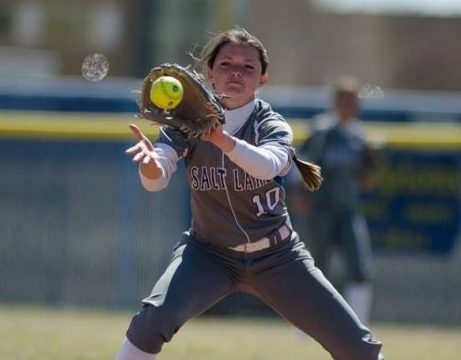 Salt Lake Lady Bruin Kaylee Bott yanks a ball out of mid-air in the four-game sweep against Snow College.
