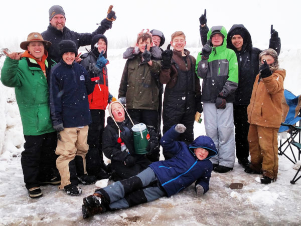 Ephraim's new Boy Scout Troop 900 and its leaders take a cold and snowy moment for a celebratory photo after they won the Klondike Derby on Feb. 18 in Fairview Canyon.