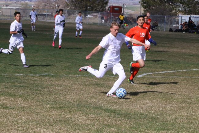 Cort Olson takes a shot at the Wasatch Academy goal in the Templar's 2-0 win over the Tigers on Tuesday, April 4.