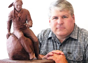 Brad Taggart of Ephraim, a celebrated local artist and Snow college professor, poses with a small-scale design model of the statue he has been commissioned to create of Sanpitch, a Native American chief who is the namesake of Sanpete County.